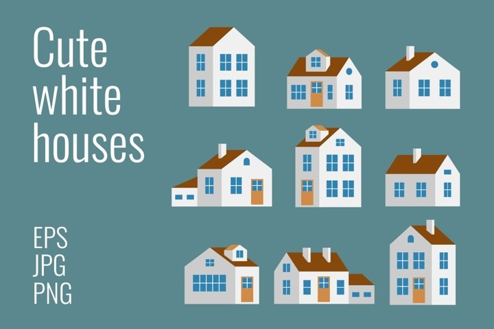 Small and big cute white houses