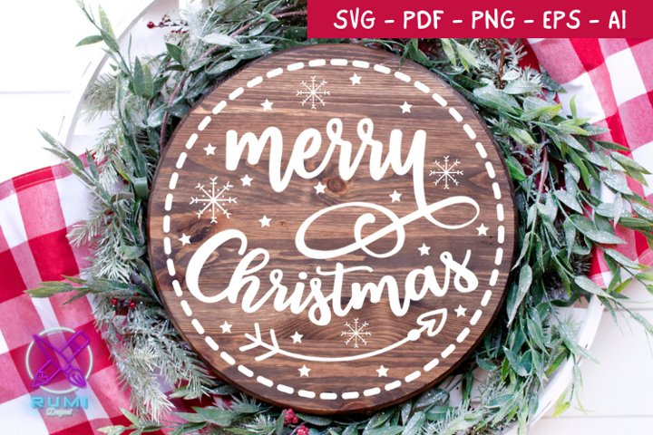 Merry Cristmas Wood Round Sign , Christmas SVG Cut File