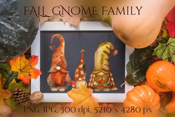 Fall gnomes. Gnome family. Watercolor gnomes