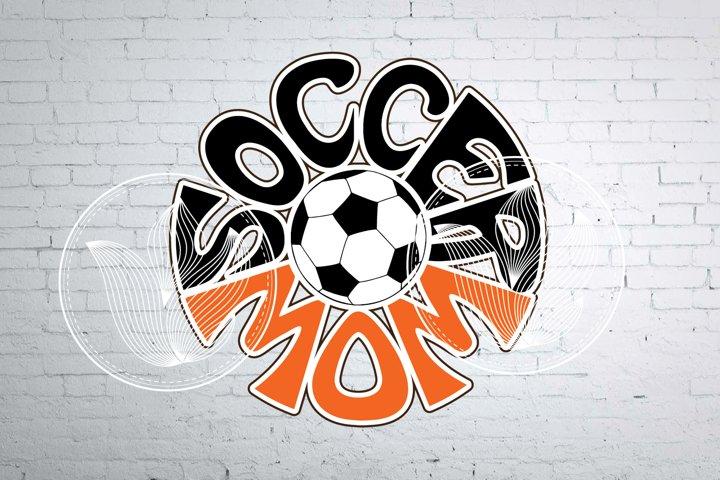 Digital Soccer mom Word Art with Soccer ball, png, eps, svg