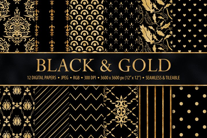 Black and Gold Seamless Papers - Damask & Geometric Patterns example