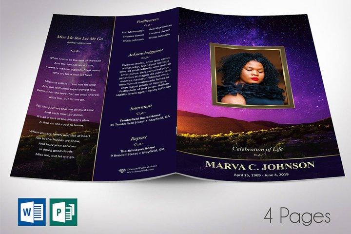 Vineyard Funeral Program Word Publisher Template