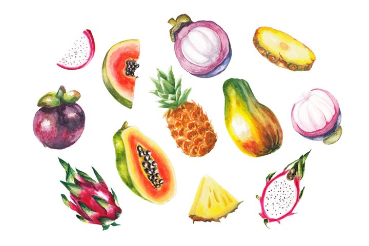 Watercolor exotic fruits collection