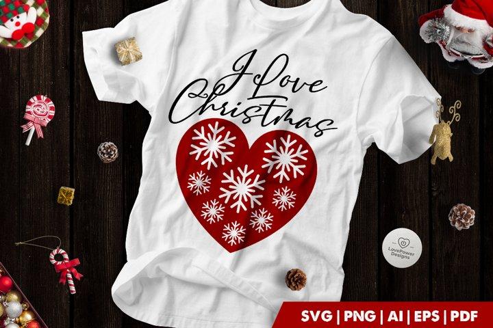 Christmas SVG | I love Christmas | Snowflake Heart SVG