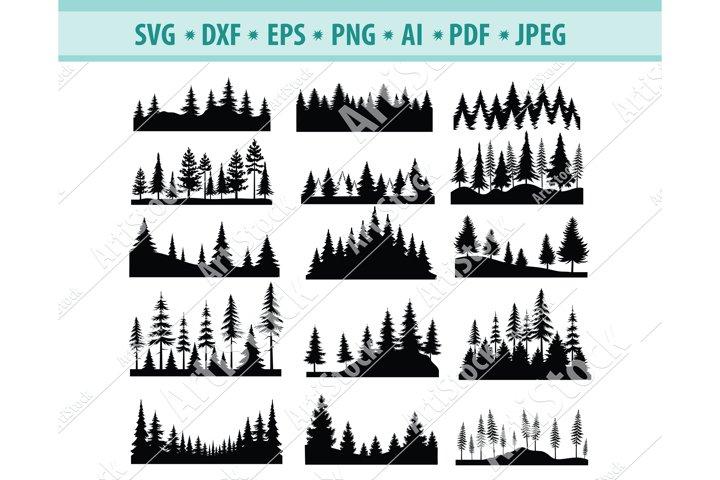 Forest Svg File, Spruce forest Svg, Nature Png, Eps, Dxf