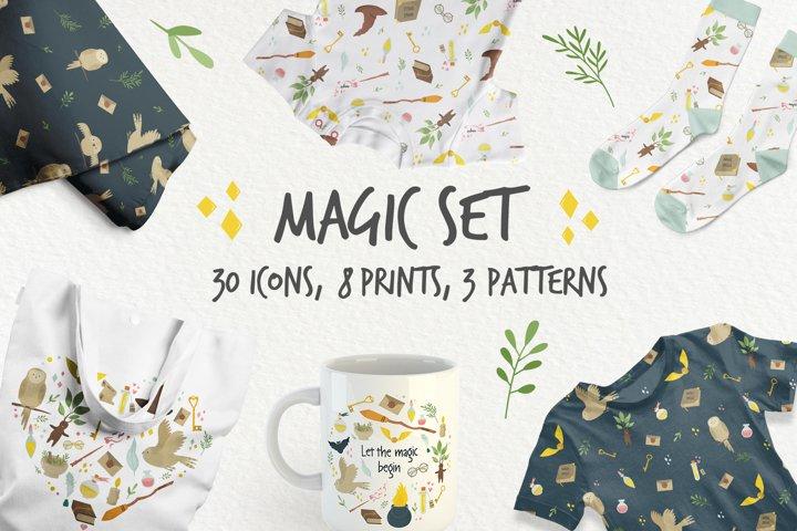 Magic set full of icons, prints, seamless patterns
