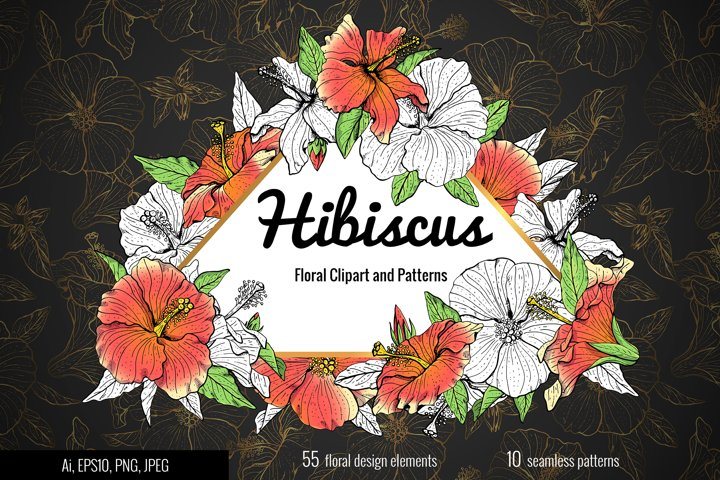 Floral clip-art and patterns Hibiscus