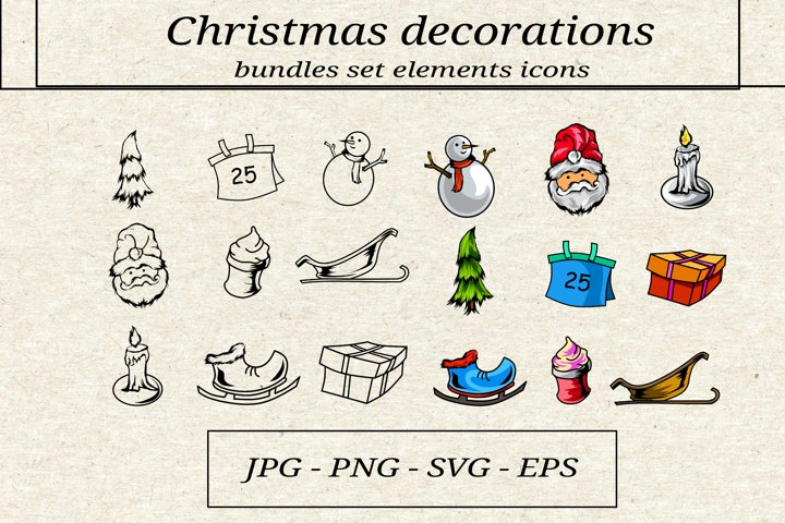 bundles set elements of the christmas icon