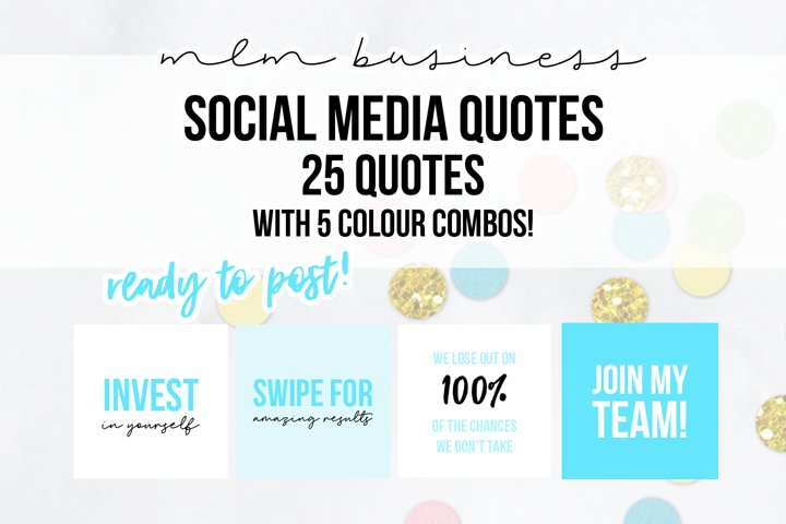 25 x Turquoise Blue MLM Social Media Quotes
