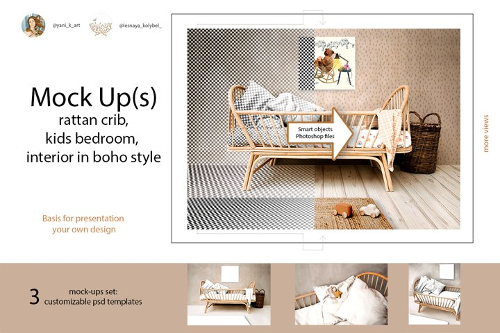 Mock ups kids bedroom interior with rattan crib in boho styl