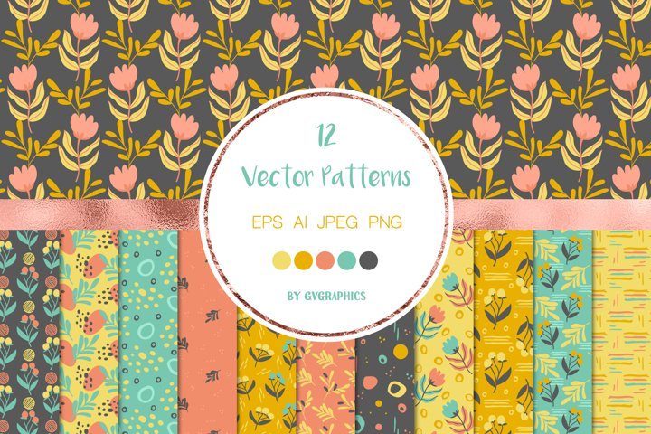 12 Seamless Floral patterns with doodles, Vector backgrounds