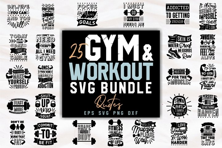 Gym and Workout SVG Bundle Fitness Quotes PNG Bundle