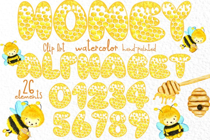 Honey alphabet Cute letters and numbers Honeybees clipart