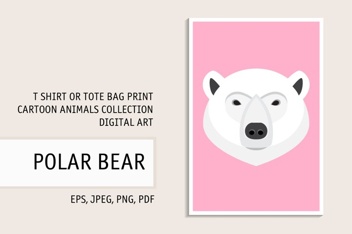 White Bear Clipart. Polar Bear Portrait. Digital T Sirt Art