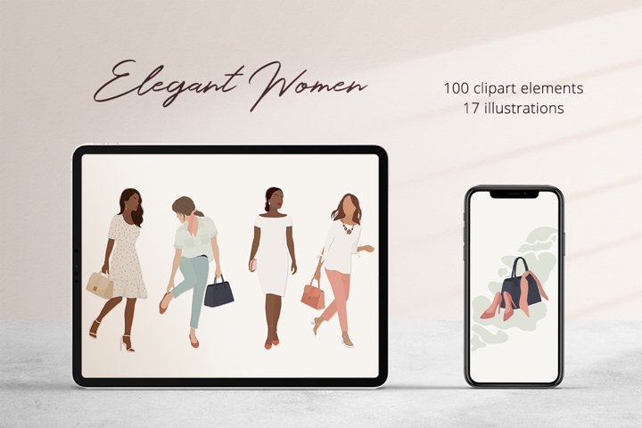 Elegant Women Illustration Set