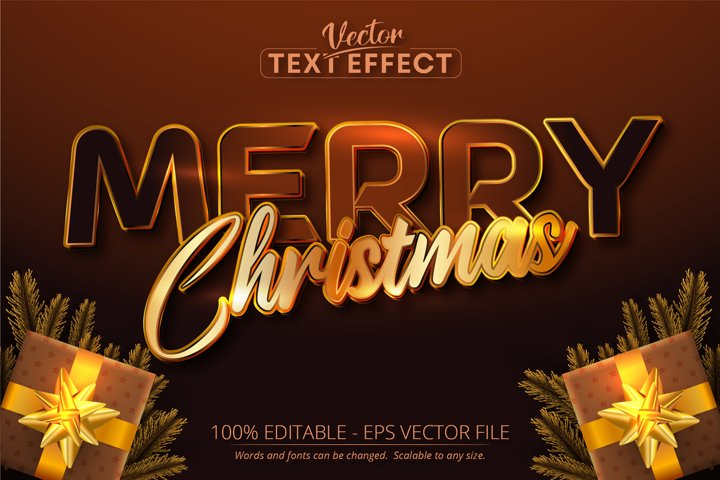 Merry christmas text, golden color style text effect