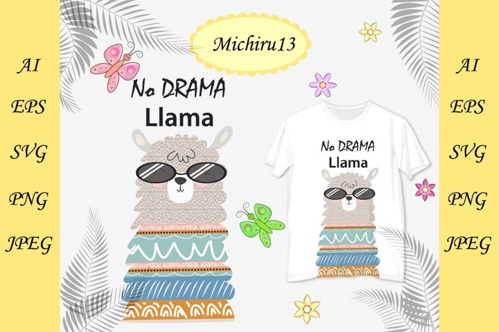 Llama in the Scandinavian style in sunglasses