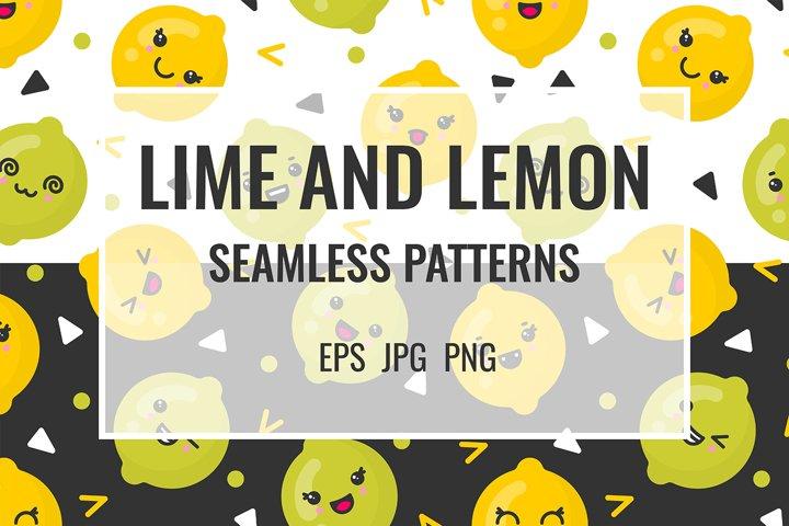 Lime and lemon seamless patterns