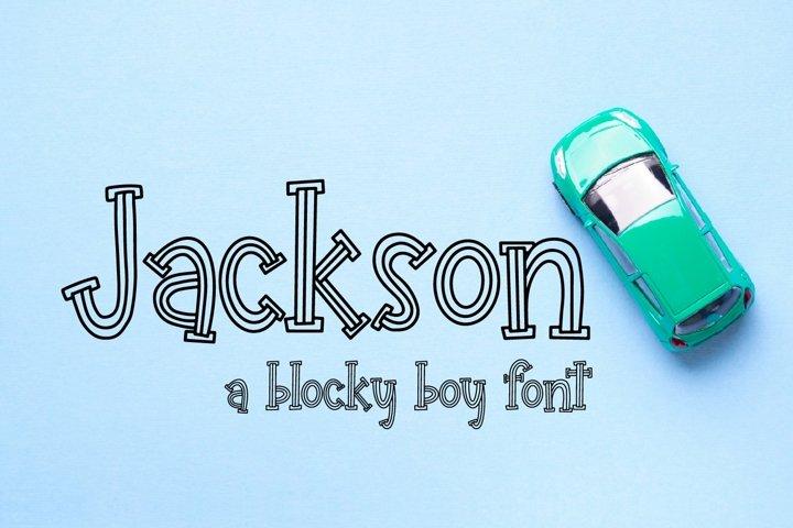 Web Font Jackson - A Blocky Boy Font