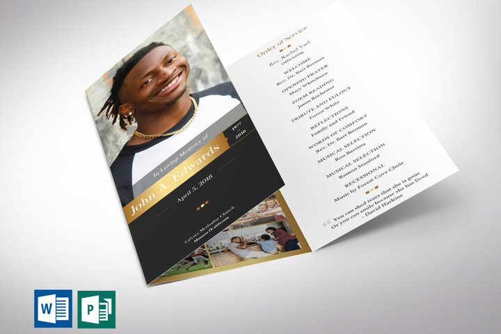 Gold Funeral Program Tri-fold Word Publisher Template