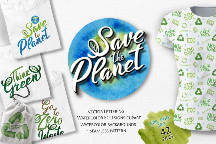 Save the Planet lettering logo, reuse recycled icons signs
