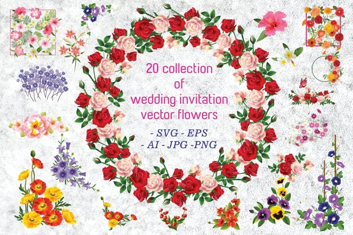 20 Collection of Wedding Invitation Vector Flowers