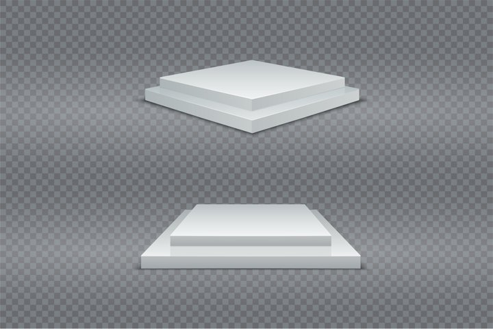 White podium set. 3d square two-stage pedestals winner. Real