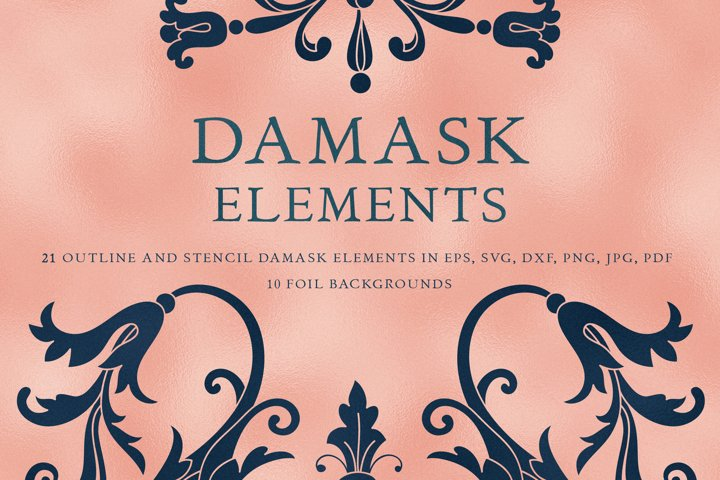 Damask Vector Elements, Seamless Patterns, Card Template