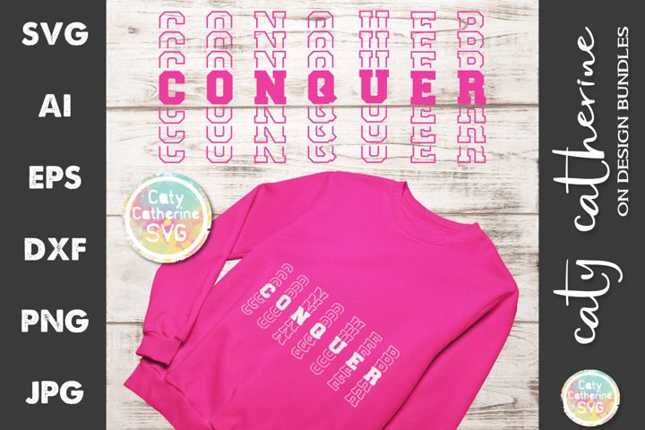 Conquer Mirrored Stacked Letters SVG Cut File