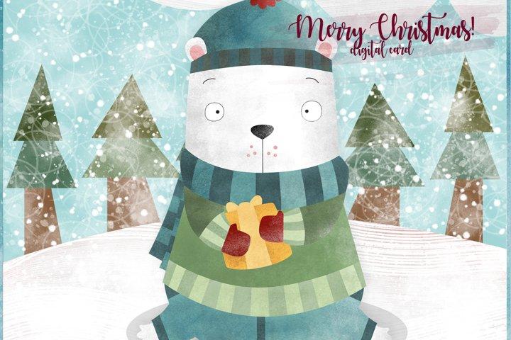 Christmas Card. Christmas Bear digital card