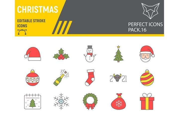 Christmas color line icon set