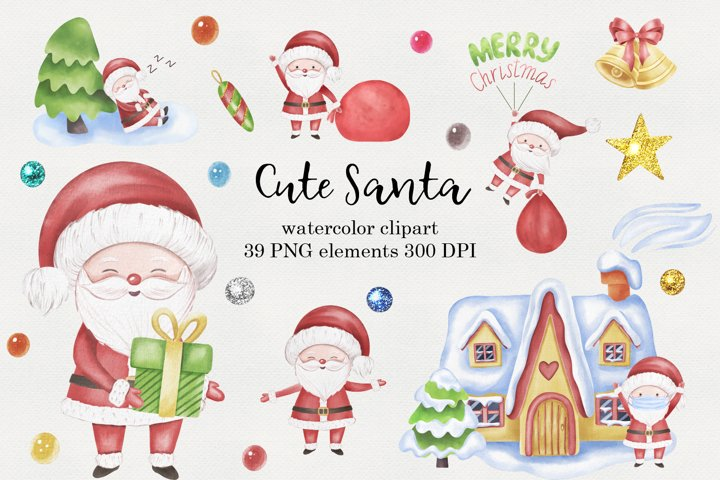 Cute Santa Watercolor Clipart, Christmas PNG files