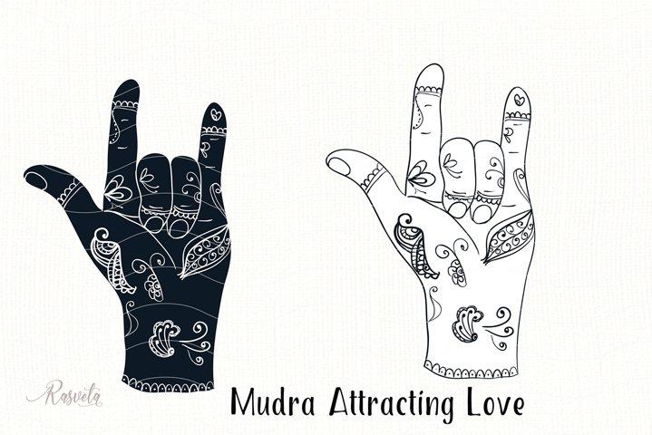 Mudra Attracting Love with mehendi pattern
