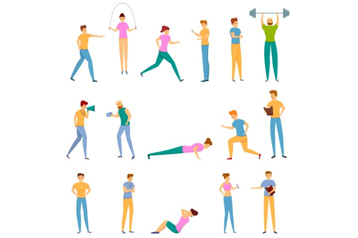 Personal trainer icons set, cartoon style