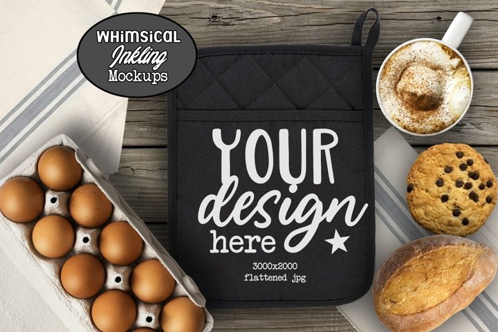 Black Bakery And Coffee -Potholder Mockup