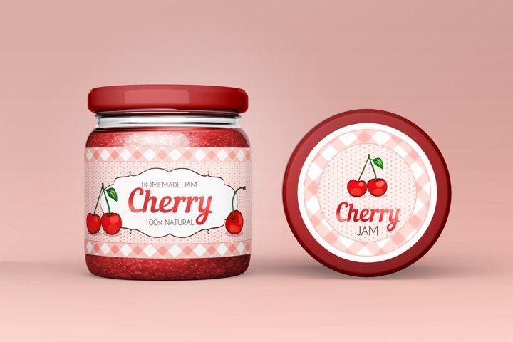 Vintage Cherry Jam label and sticker design in CMYK.