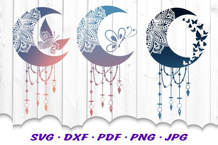 Mandala Moon Butterfly Dream Catcher SVG Cut Files Bundle