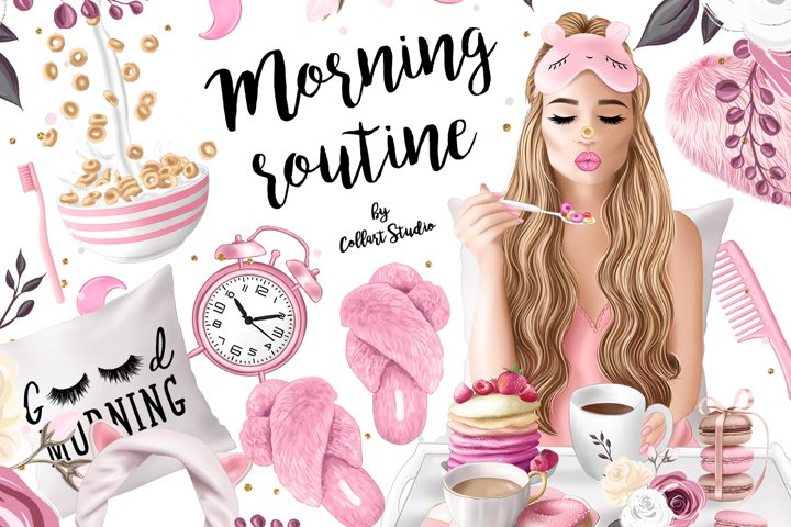 Morning clipart, fashion illustrations, morning routine plan
