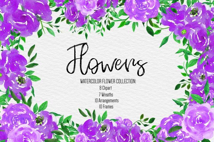 Wedding, Wedding Invitation Clipart, watercolor Flowers example