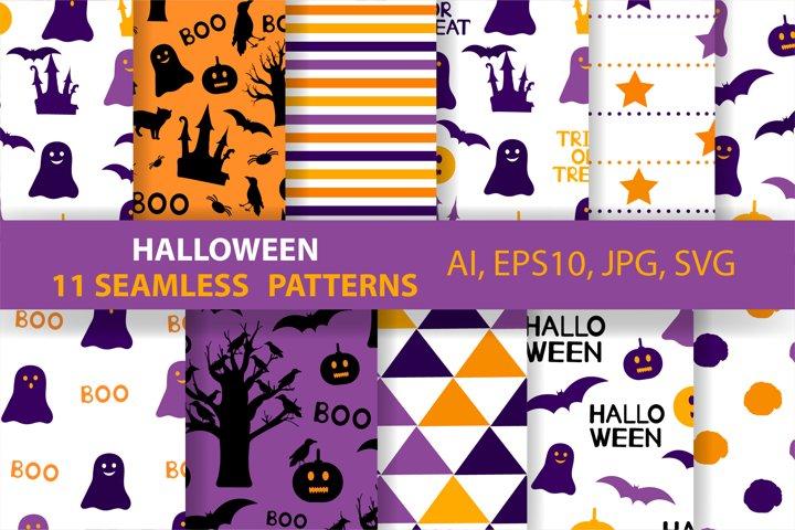 11 Halloween seamless patterns. Ai, EPS10, JPG, SVG