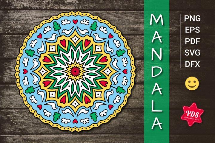 Unusual Colorful Cute Mandala with Birds, Flowers & Hearts.