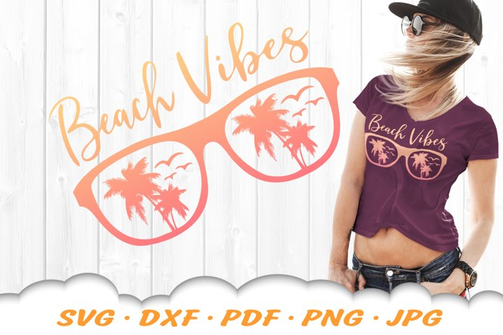 Palm Beach Vibes Sunglasses SVG DXF Cut Files