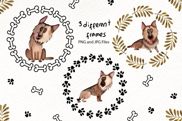 Watercolor Dogs Illustrations example 4