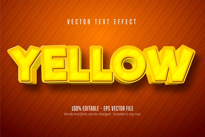 Yellow text, cartoon game style editable text effect