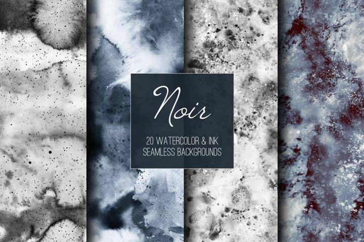 Noir. Seamless watercolor backgrounds