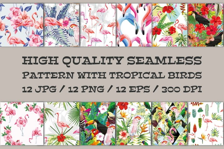 Seamless vector pattern with tropical birds, flowers, leaves