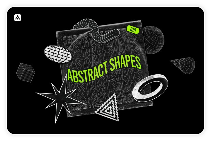 Abstract shapes collection 100 design elements