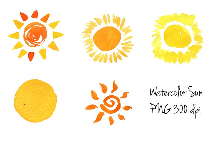 Doodle Sun icons set Watercolor