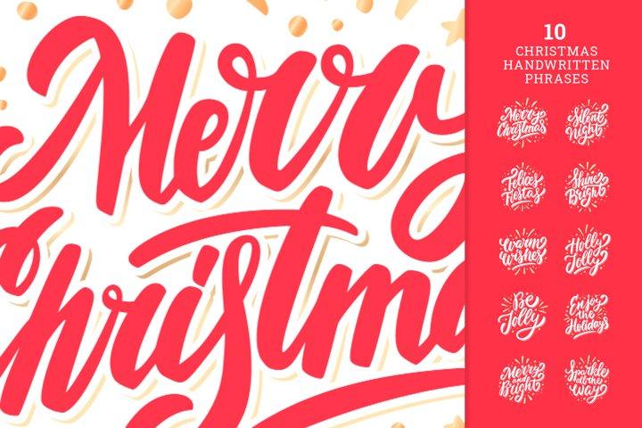 Christmas vector handwritten phrases
