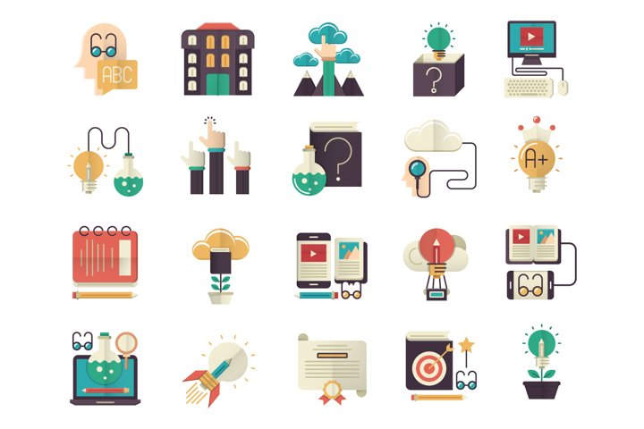 Knowledge and education flat icons set